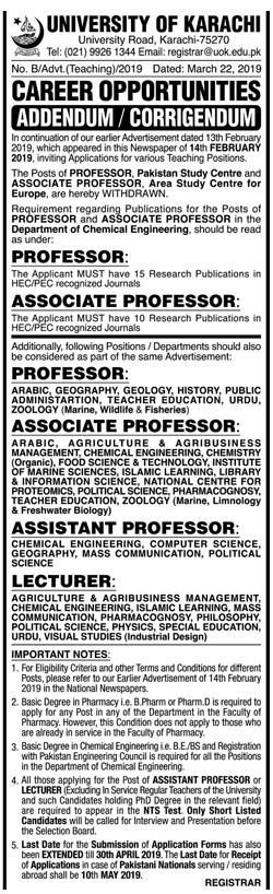 University of Karachi Jobs 2019 For Teaching Staff | Latest Advertisement
