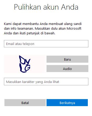 Mengisi email atau nomor telepon untuk mengatasi lupa password login windows 8