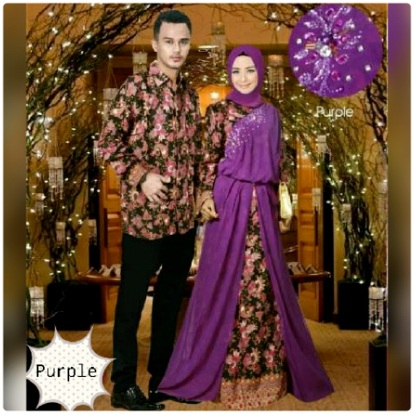 Gambar Baju Gamis batik Couple. Couple Pasangan Keluarga Friza Ungu 064273d654