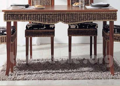 mesa comedor hecho en teca y rattan natural j917