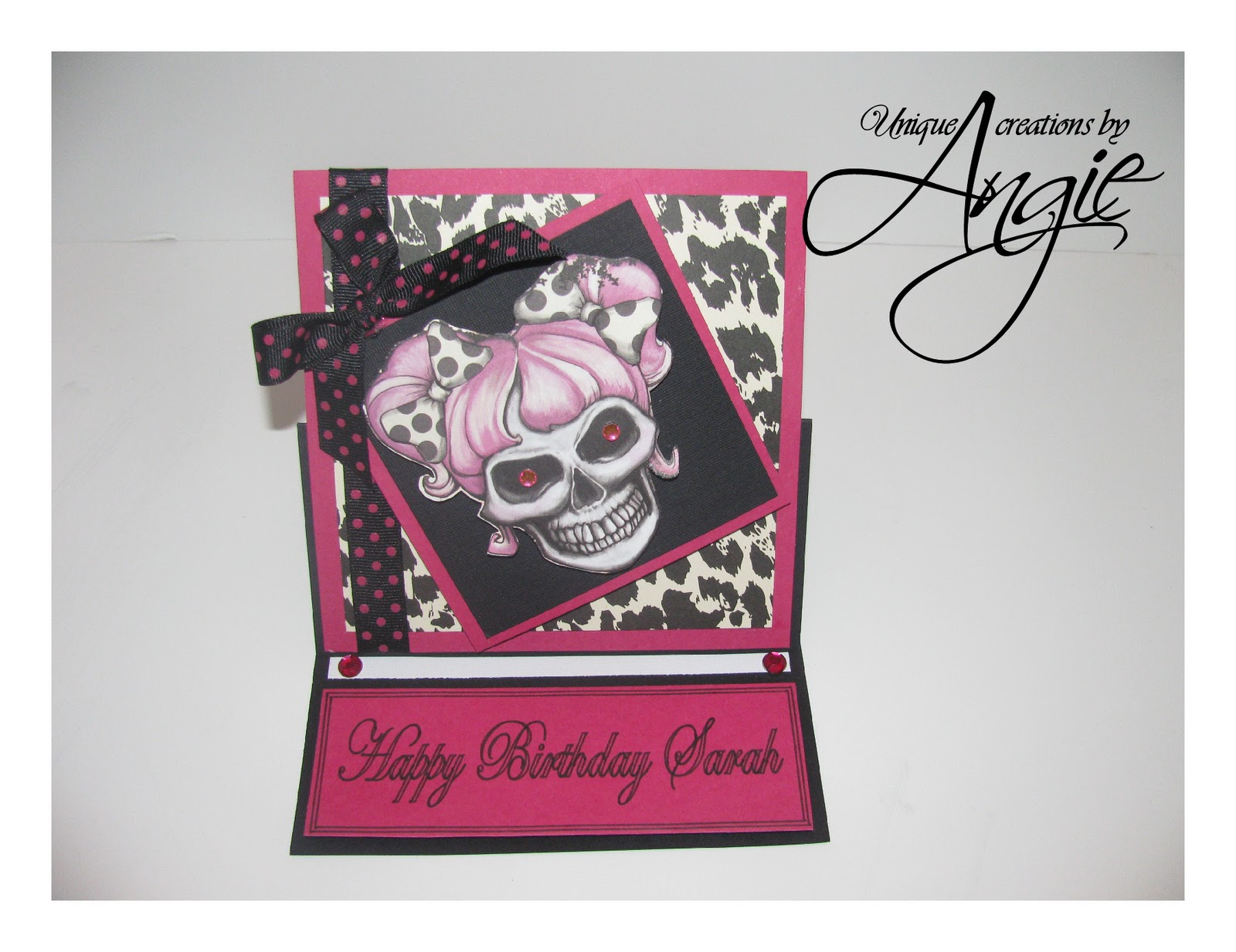 Scrappin Memories Skull Girl Birthday Card