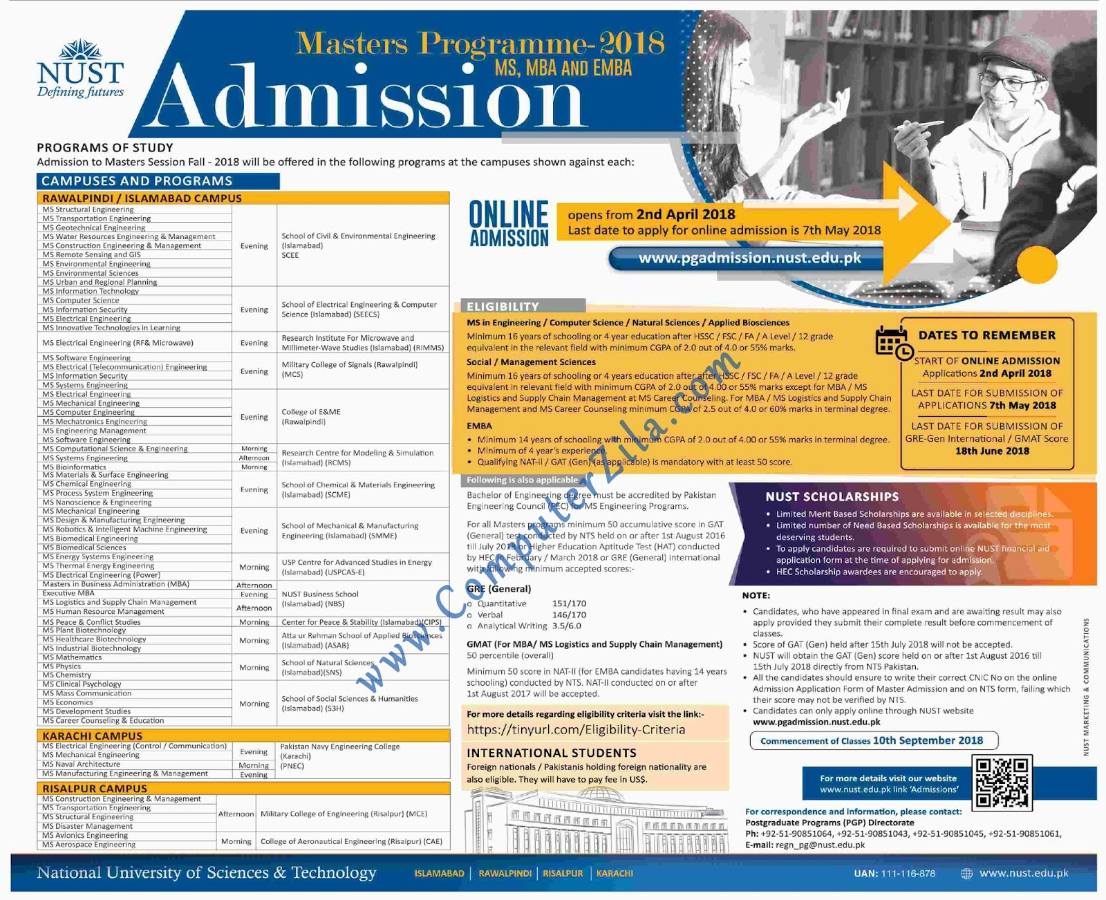 NUST Admissions Fall 2018 - Computer Zila