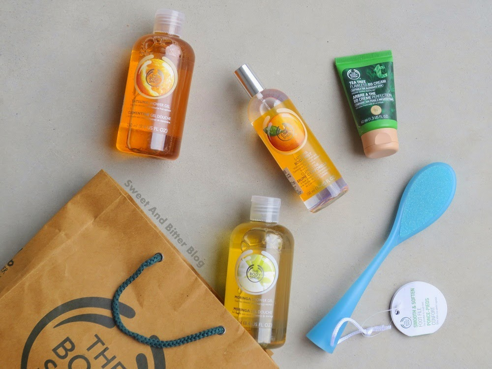 The Body Shop Haul The Body Shop Satsuma Shower Gel, The Body Shop Satsuma Body Mist, The Body Shop Morgina Shower Gel, The Body Shop Smooth and Soften Foot File, The Body Shop Tea Tree BB Cream