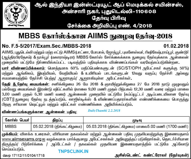AIIMS MBBS Course Entrance Notification 2018