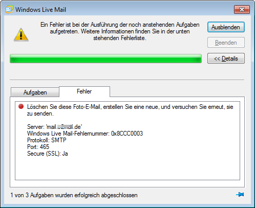 kann email nicht löschen