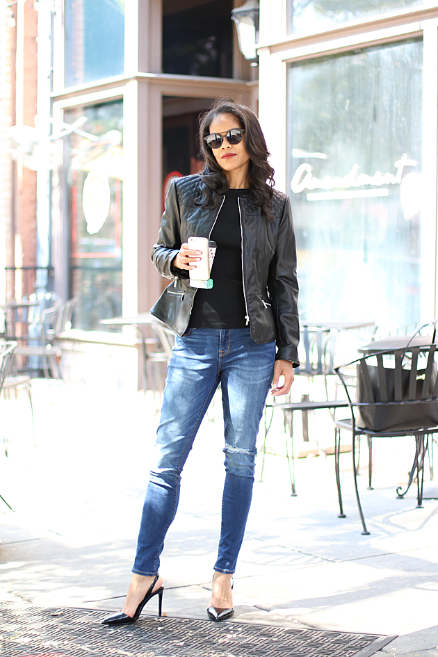 Zara Moto Jacket, Old Navy Distressed Jeans & Banana Republic Slingbacks | via Savor Home
