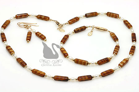 Brown Czech Freshwater Pearl Beaded Necklace Set 3-pc (JS101)