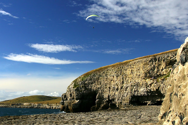 paraglider on Jurassic Coast