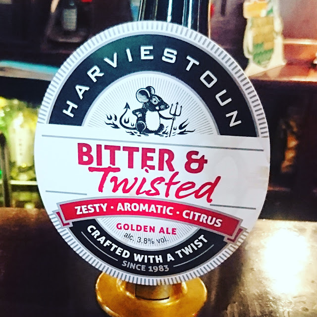 Clackmannanshire craft beer review Bitter and Twisted from Harviestoun real ale pump clip