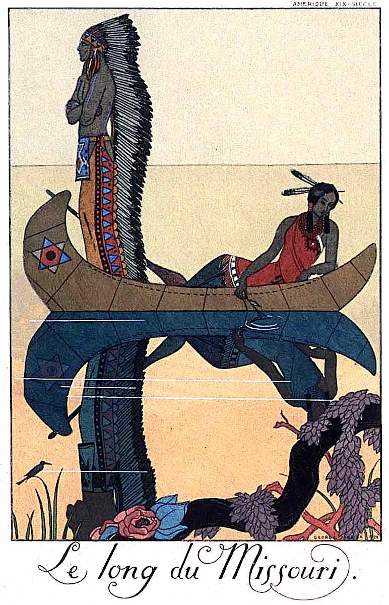"a George Barbier illustration ""Le long du Missouri"", attractive native couple in a canoe"