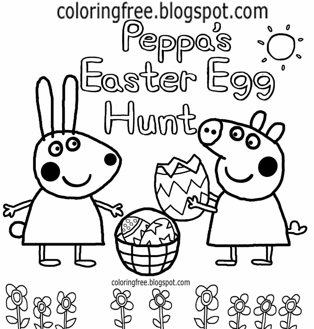 Cheerful Clipart Peppas Easter Egg Hunt Peppa Pig Drawing For Nursery Kids Easy Coloring Book Pages