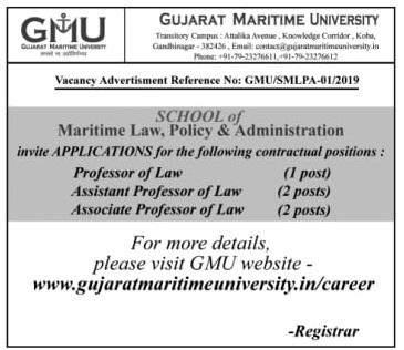 Gujarat Maritime University (GMU) Recruitment for Various Posts 2019