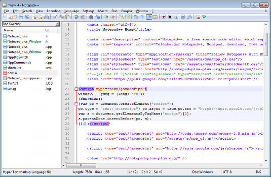 Notepad++ code online Editor for free download for Windows