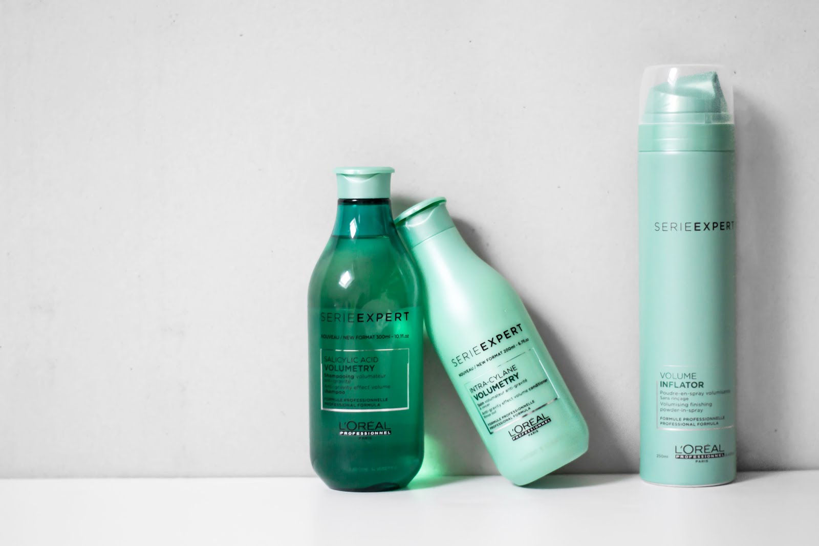 L'oreal serie expert volumetry products, haircair, volume, thin hair, shampoo, conditioner, volume spray, review