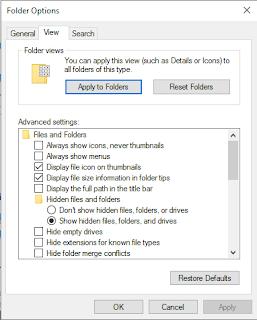 Folder option show hidden files folder and drives
