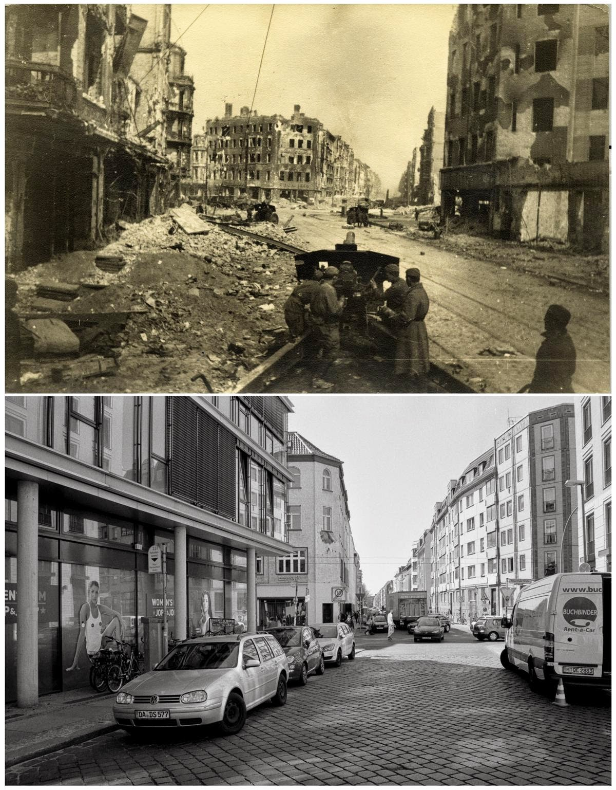 berlin battleground pictures of the battle for berlin and 70 years later vintage everyday. Black Bedroom Furniture Sets. Home Design Ideas