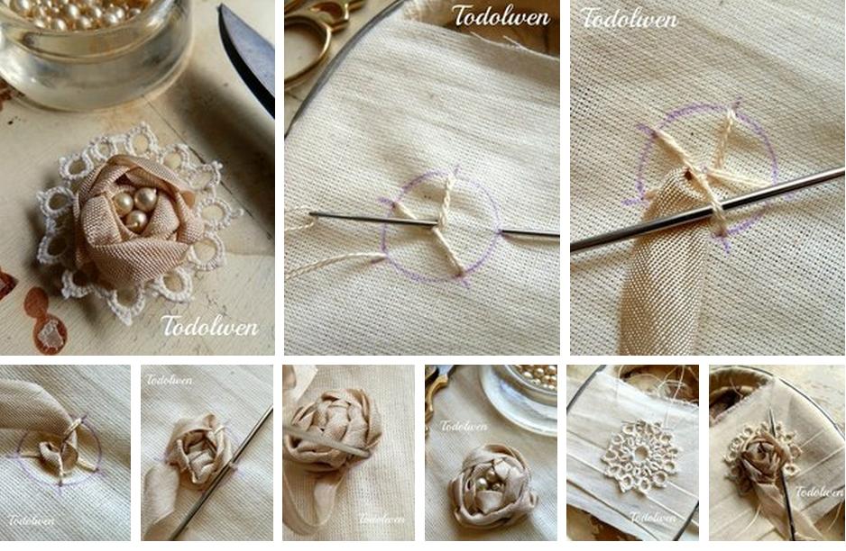 rosas, cintas, perlas, costura, labores, bordar