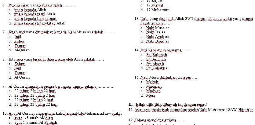 Soal Sd Kelas 1 Agama Islam Soal Uts Sd Kelas Agama Islam