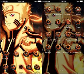 Tampilan Tema dan Icon Pack Naruto Kyubi