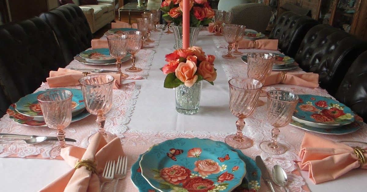 The Welcomed Guest Turquoise And Apricot Table