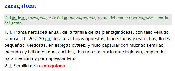 Zaragatona - definición