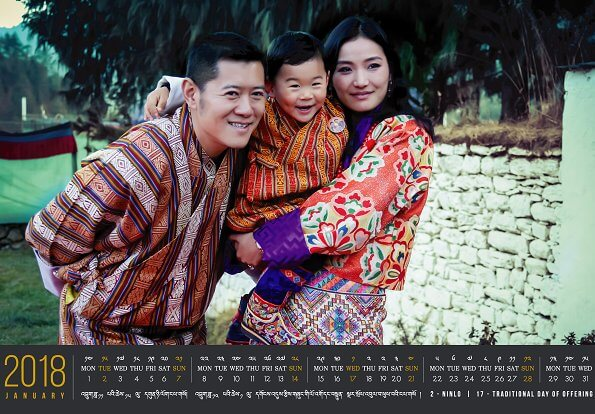 Bhutanese royal family released January 2018 Calendar