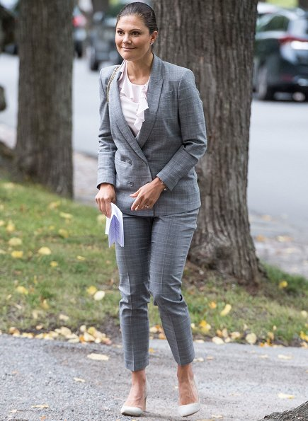 Crown Princess Victoria wore Tiger of Sweden Chela Blazer and Brite Trousers and By Malene Birger-Pumps