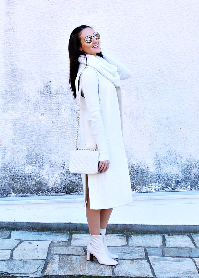 white coat,white booties,white purse,white turtleneck dress