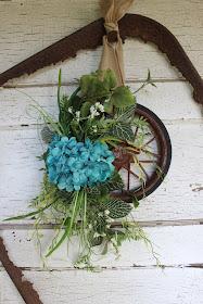 funky junk repurposed wheel wreath