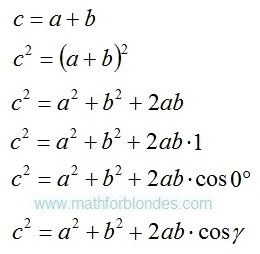 Inverse transformations. We transformed the sum of a line segments to the law of cosines. Mathematics For Blondes.