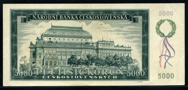 Czechoslovakia 5000 Czech Korun note bill