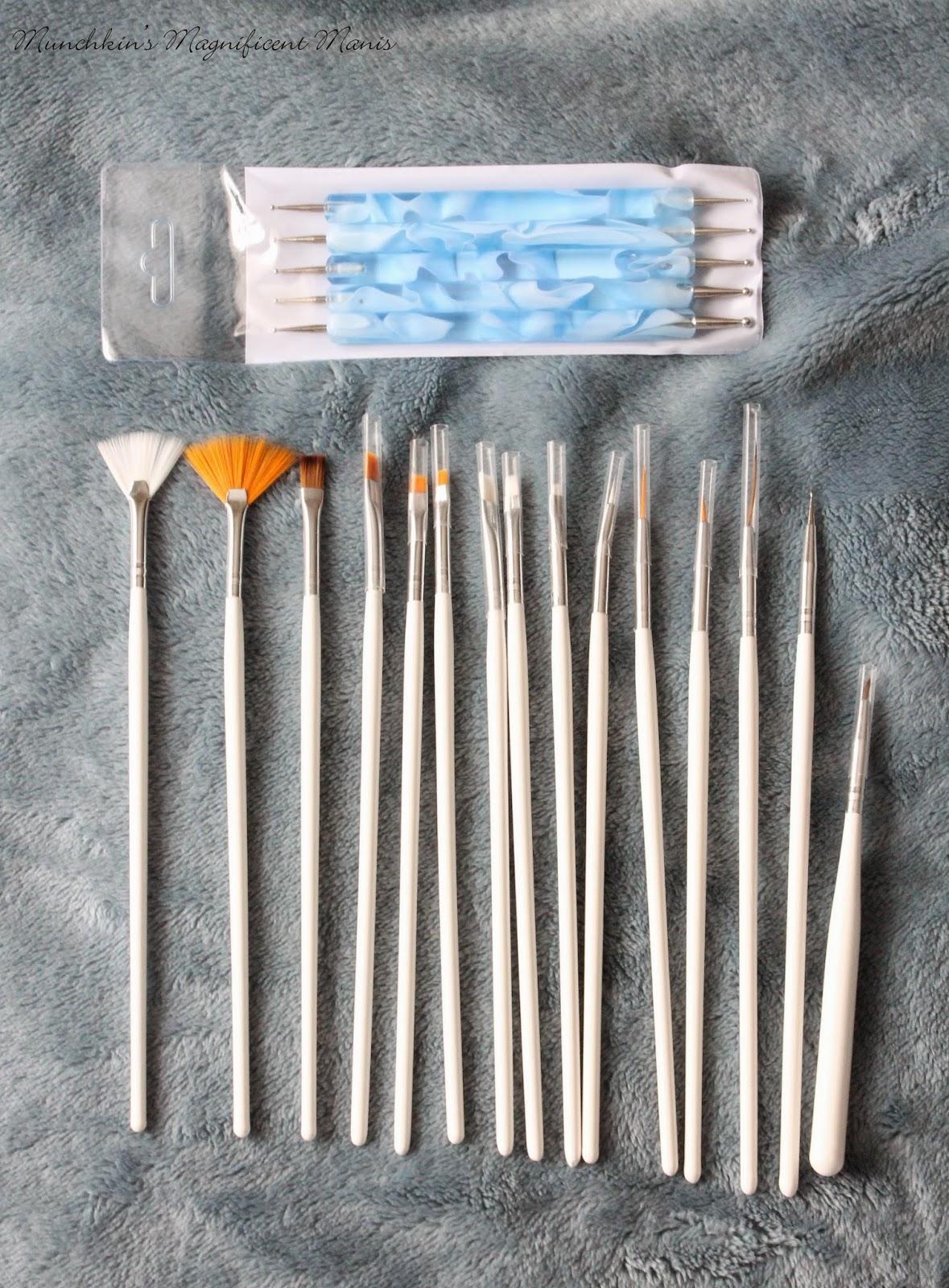 15pc nail art brushes and dotting tools