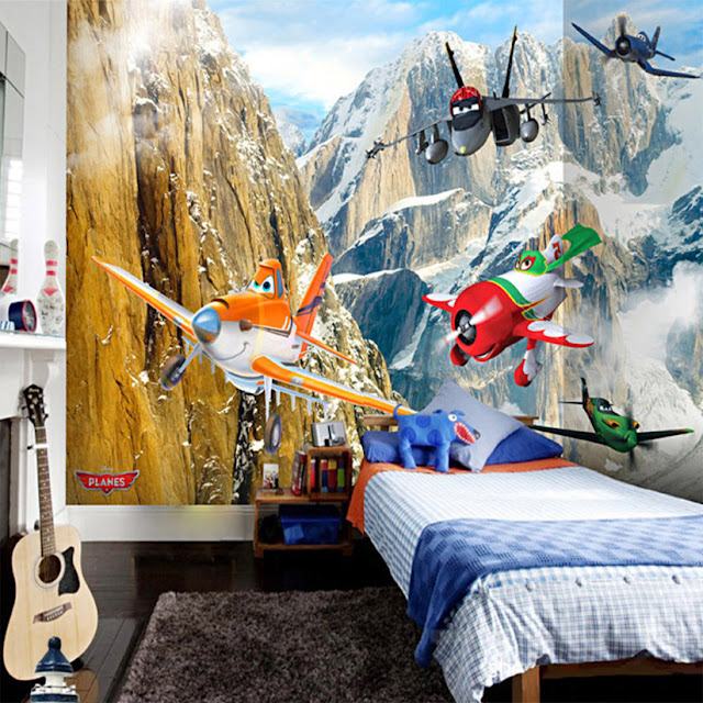 Disney wall mural planes pixar 3D Photo Wallpaper Wall Mural CartoonToy planes