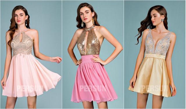 robes de soirée courtes pas cher brillantes 2019