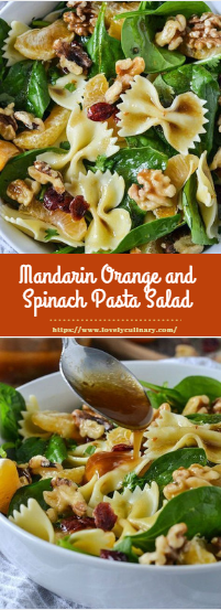 Mandarin Orange and Spinach Pasta Salad #vegan #salad