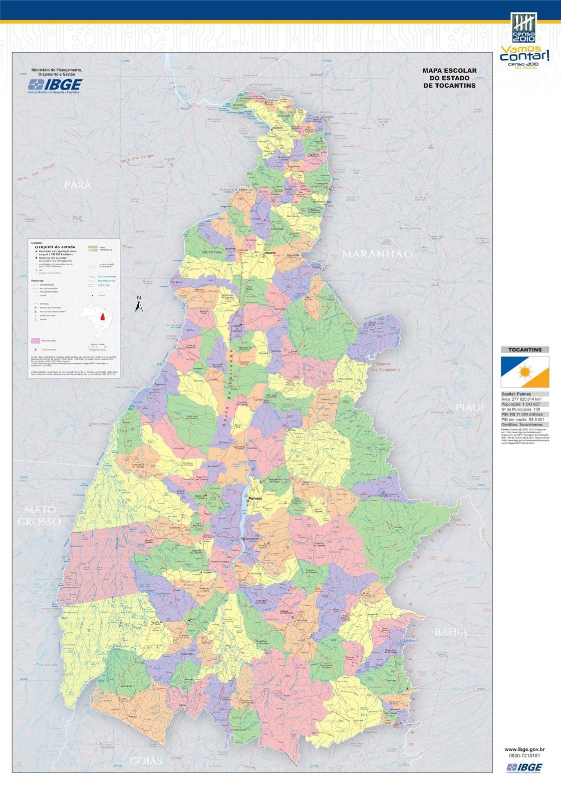 Tocantins | Mapas Geográficos de Tocantins