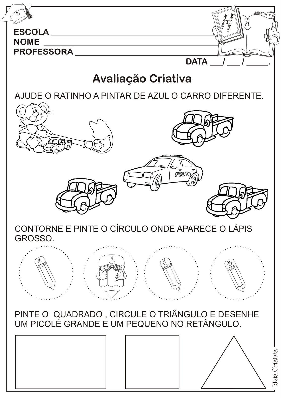Modelo De Avaliacao Criativa De Matematica Educacao Infantil