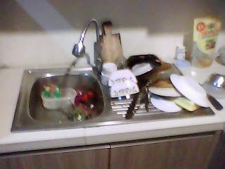 Zink bak cucian piring kitchen set - contoh hasil-hasil produksi setting desain interior dari workshop kami