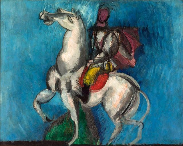 Quadro espressionista di Dufy, cavaliere su cavallo bianco
