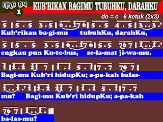 Lirik dan Not NKB 84 'Ku B'rikan Bagimu TubuhKu, DarahKu