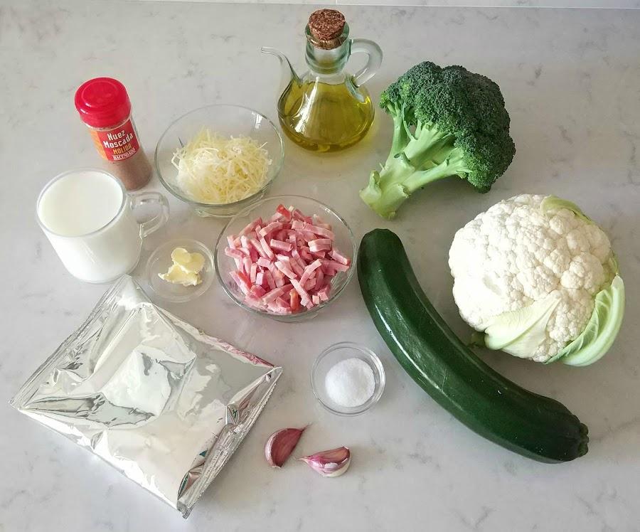 Ingredientes para el pastel de patata y verduras