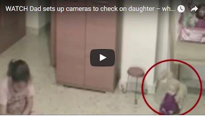 طفله تشتكي بوجود شي غريب يضايقها وما كشفته كاميرا المراقبه صادم للغايه