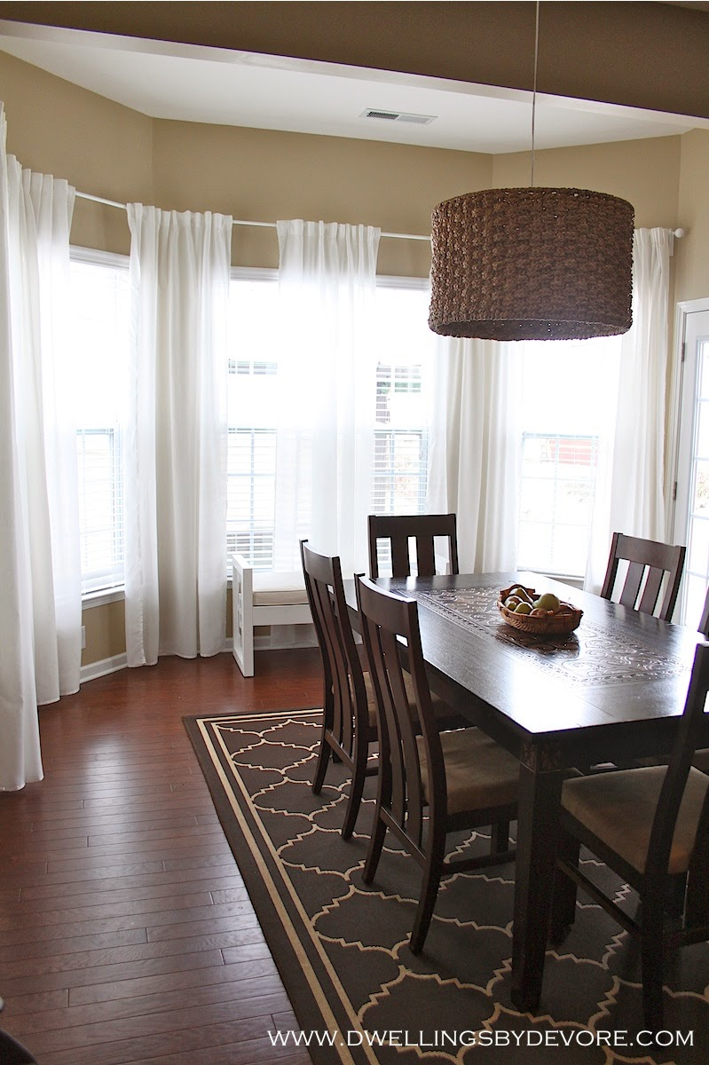 Dwellings By DeVore: Bay Window Curtains on Farmhouse:-Cra1Rtrksu= Dining Room Curtains  id=67395