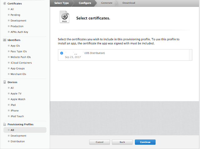 Select certificates with which you want to sign your provisioning profile