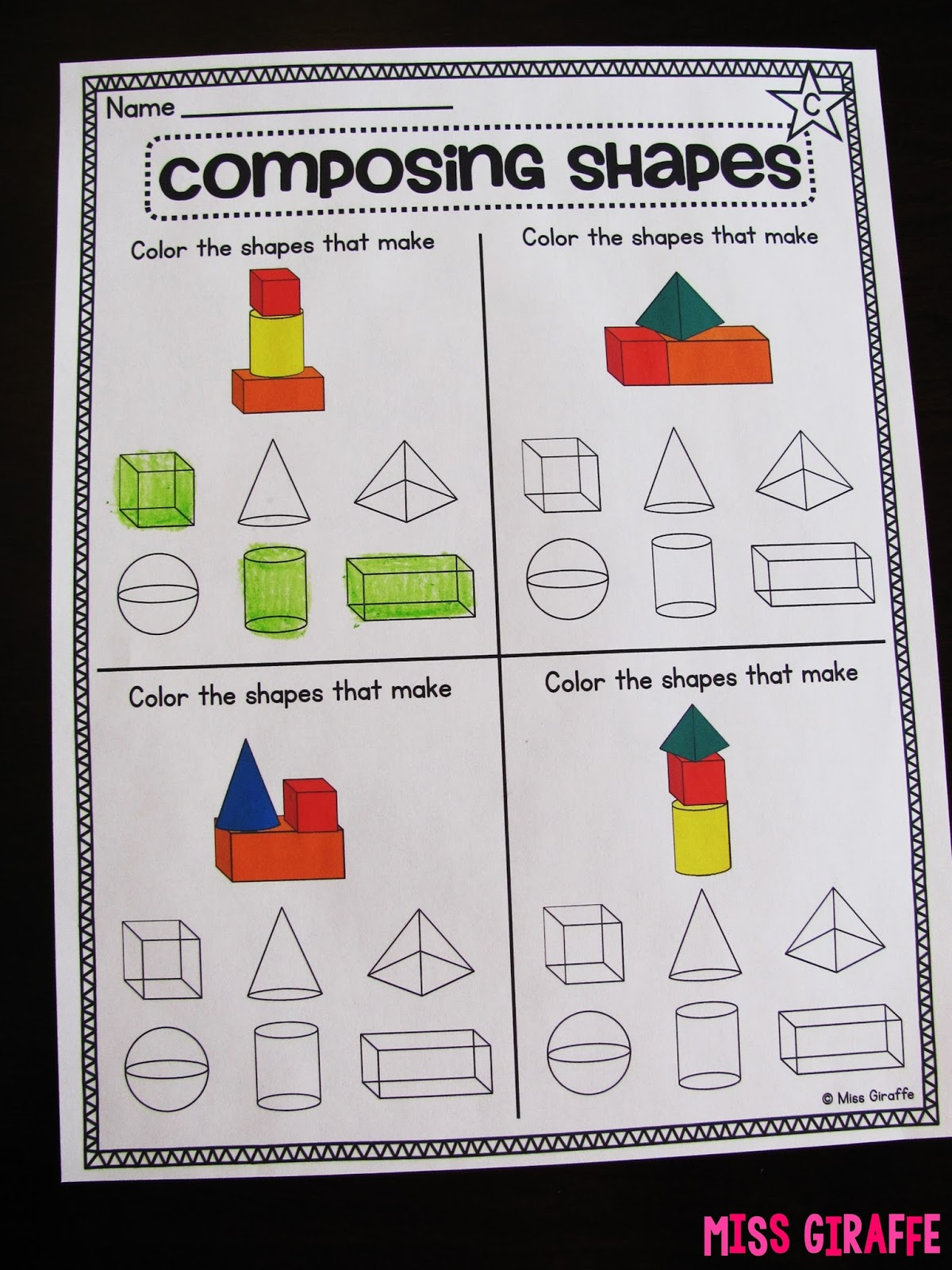small resolution of Miss Giraffe's Class: Composing Shapes in 1st Grade