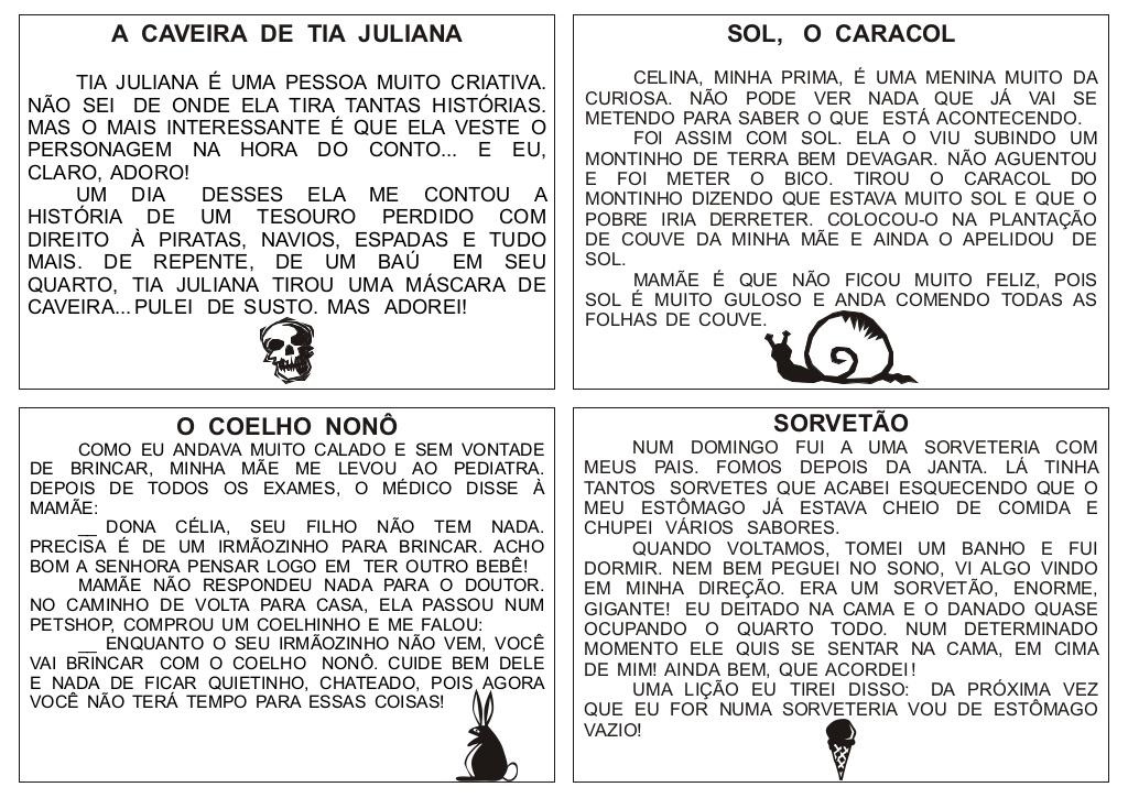 56 Textos Pequenos Para Imprimir Só Escola