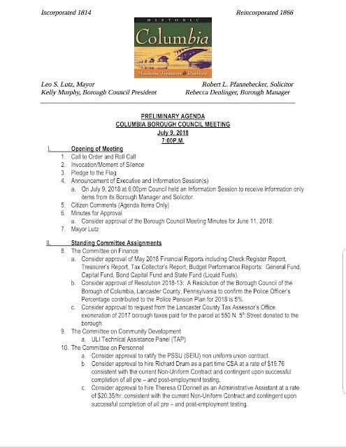 COLUMBIA SPY Draft Agenda - Borough Council Meeting July 9, 2018