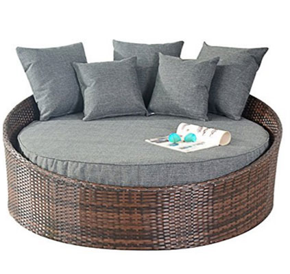 Port Royal Prestige Rattan Garden Furniture Daybed Sun Lounger - Brown, Round Outdoor Daybeds UK, Outdoor Daybeds UK, Daybeds UK, Outdoor Daybeds at Amazon.co.uk, Amazon.co.uk, Best Outdoor Daybeds, Outdoor Furniture, Quality Outdoor Daybeds,