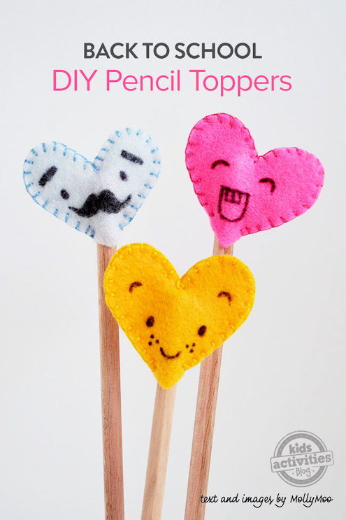 Pencil toppers, free sewing pattern (photo by Molly Moo) | Happy in Red