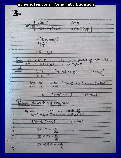 Quadratic Equation Notes-Maths3